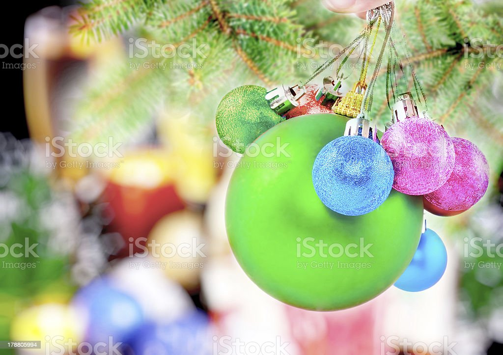 New Year decoration- balls, tinsel, candels. royalty-free stock photo