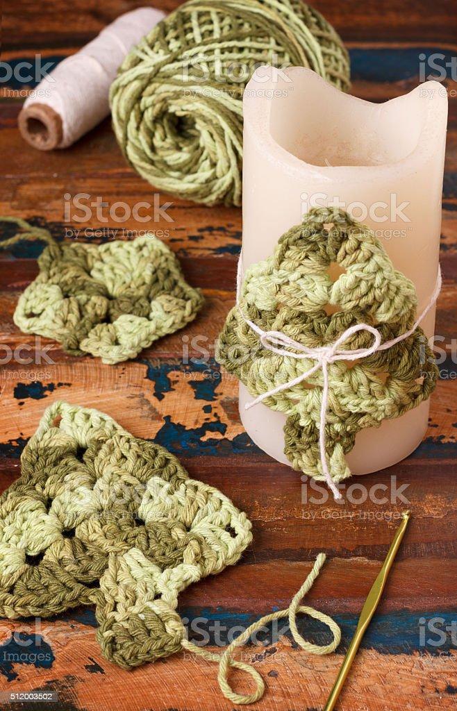 decoracin de ao nuevo con artesanal crochet rbol de navidad foto de stock libre de derechos