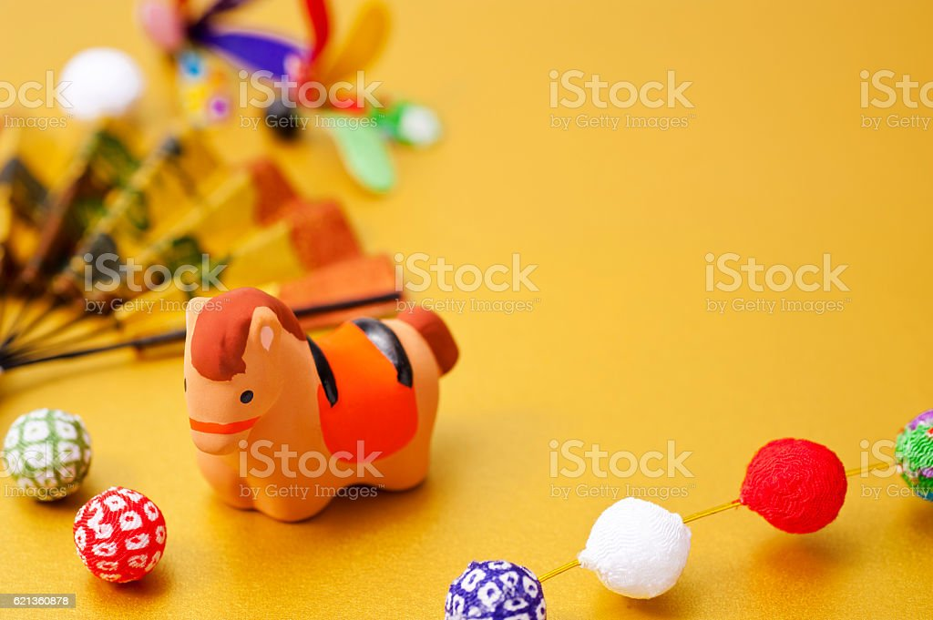 New Year decorations and horse zodiac figurine stock photo
