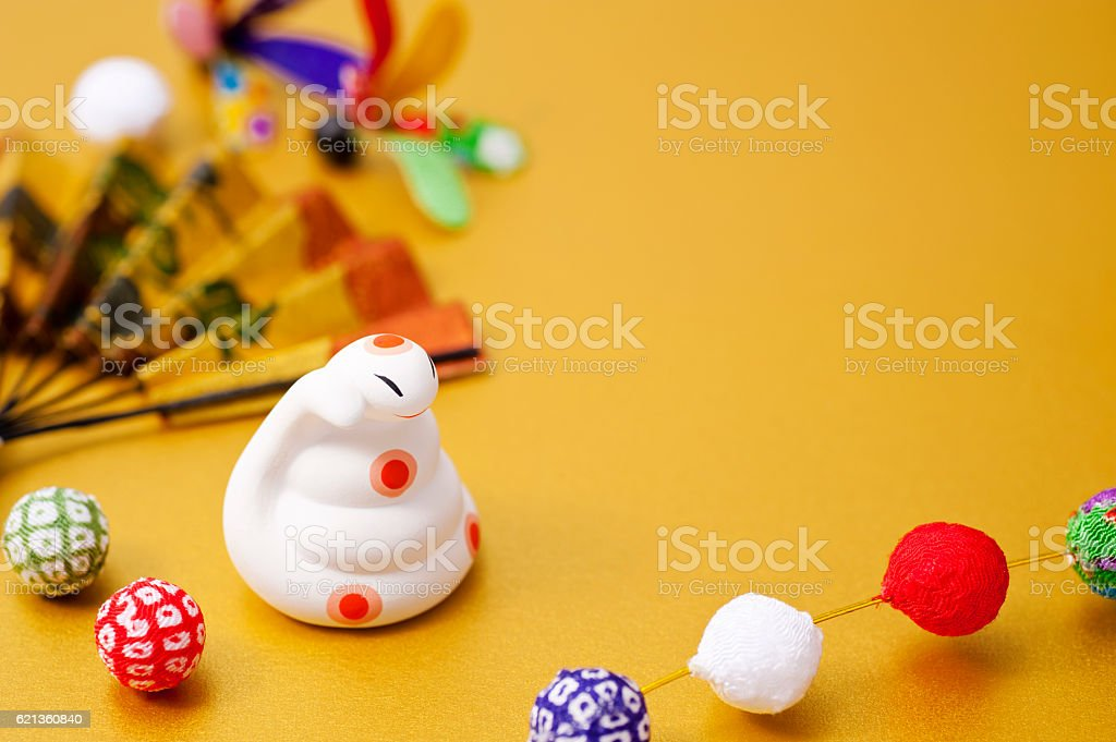 New Year decorations and the snake of the Zodiac figurine stock photo