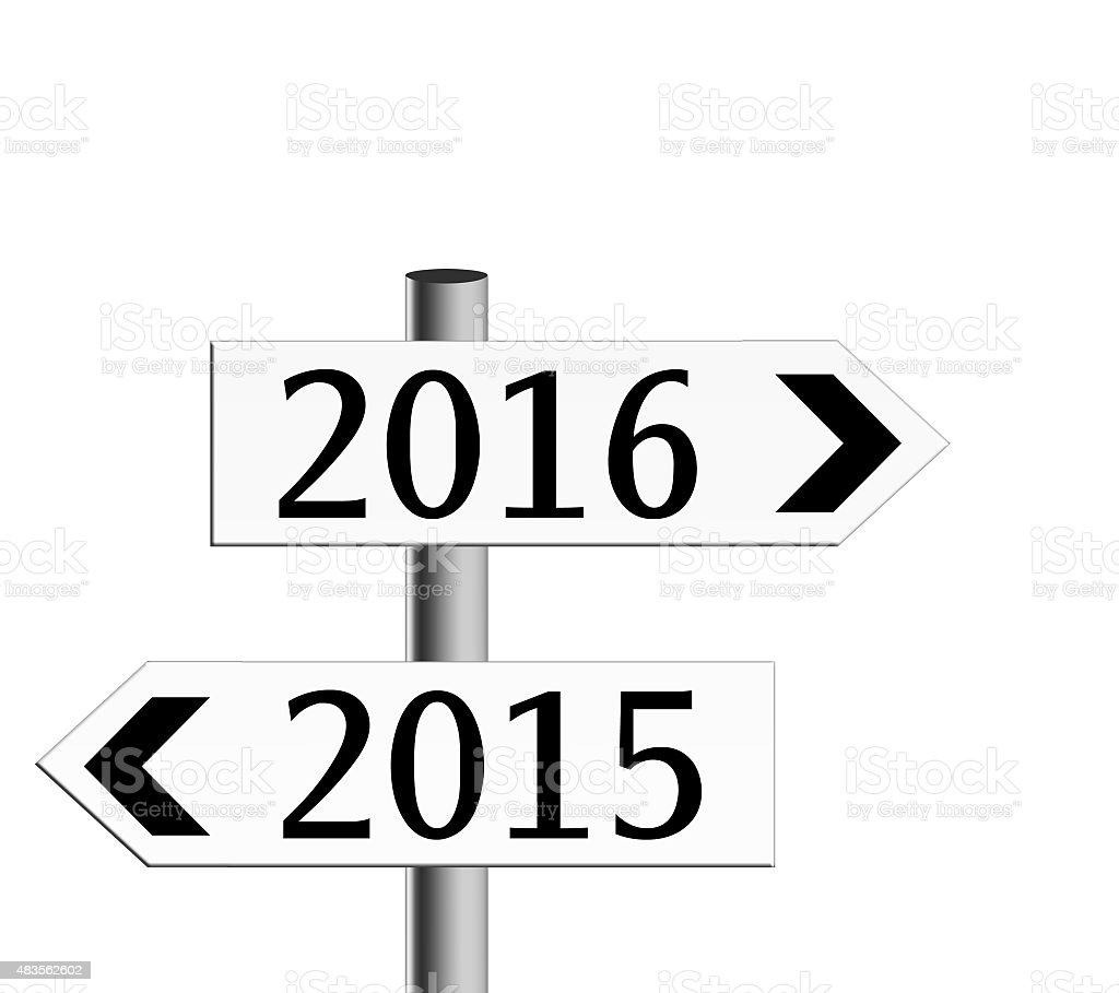 New year direction, signposts. Isolated on white. stock photo