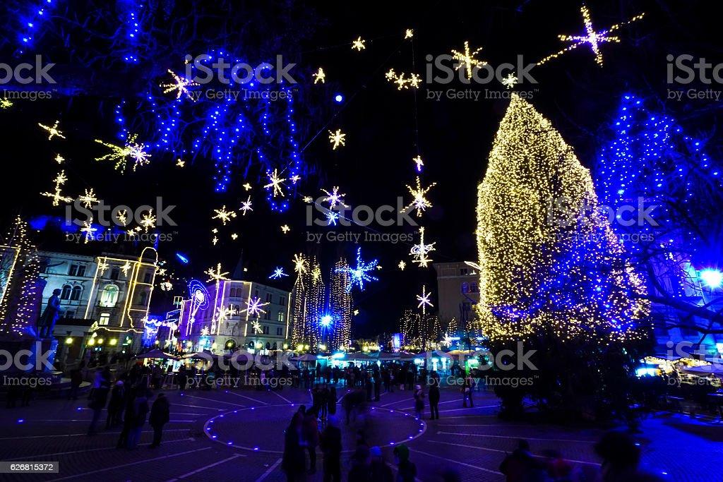 New Year Eve at center of Ljubljana, Slovenia stock photo
