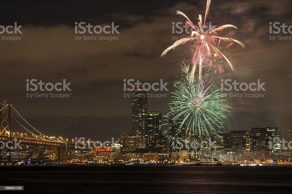 New Year Eve Fireworks in San Francisco Bay royalty-free stock photo