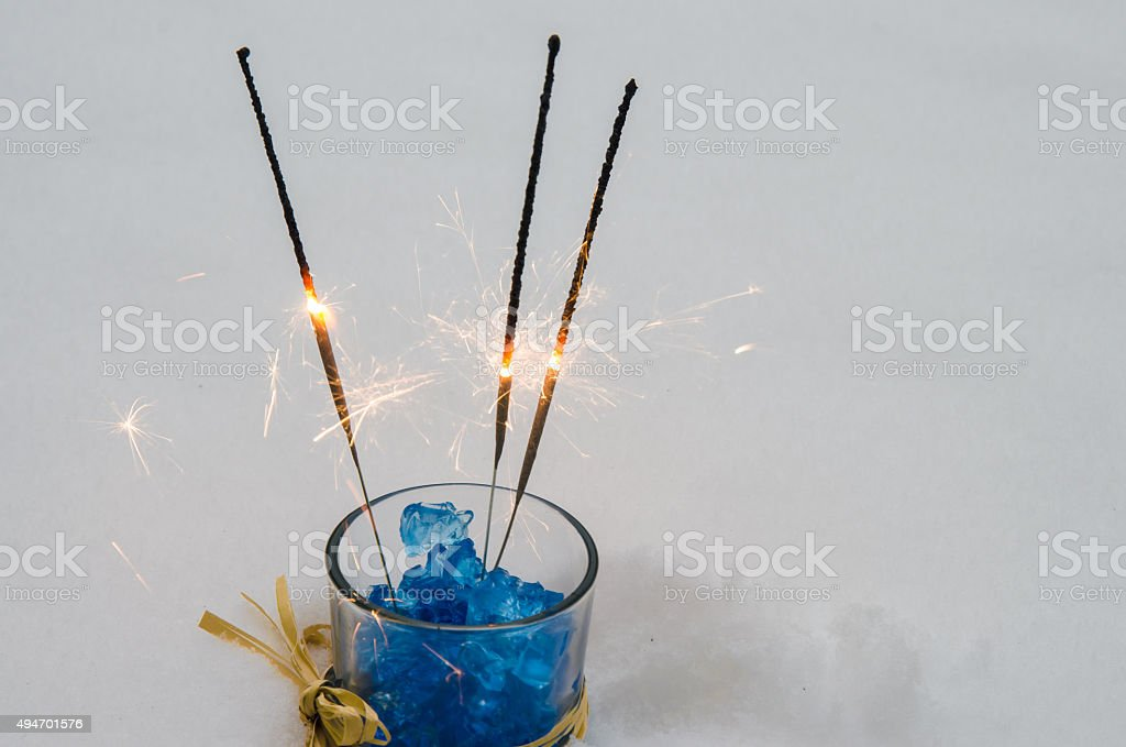 new year eve sparkler decoration stock photo