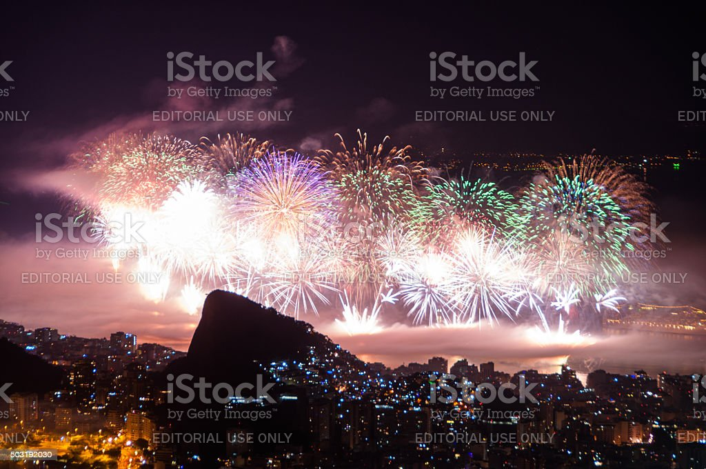 New Year Fireworks in Copacabana stock photo
