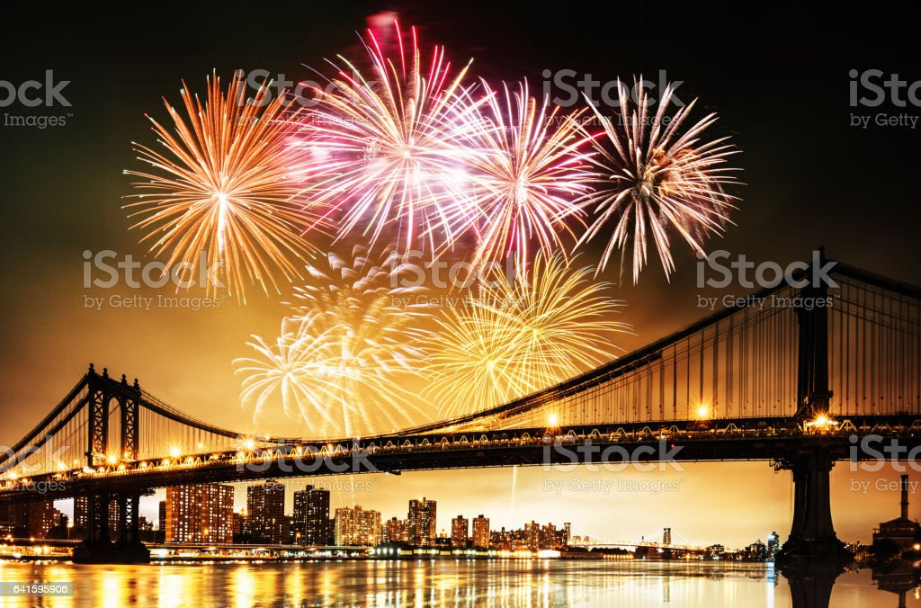 new year fireworks in new york stock photo