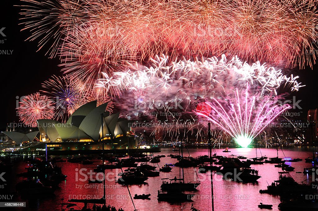 New Year Fireworks in Sydney royalty-free stock photo