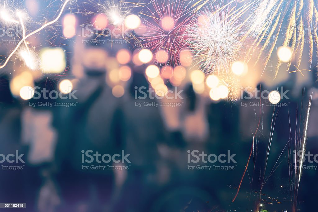 New Year fireworks. love stock photo