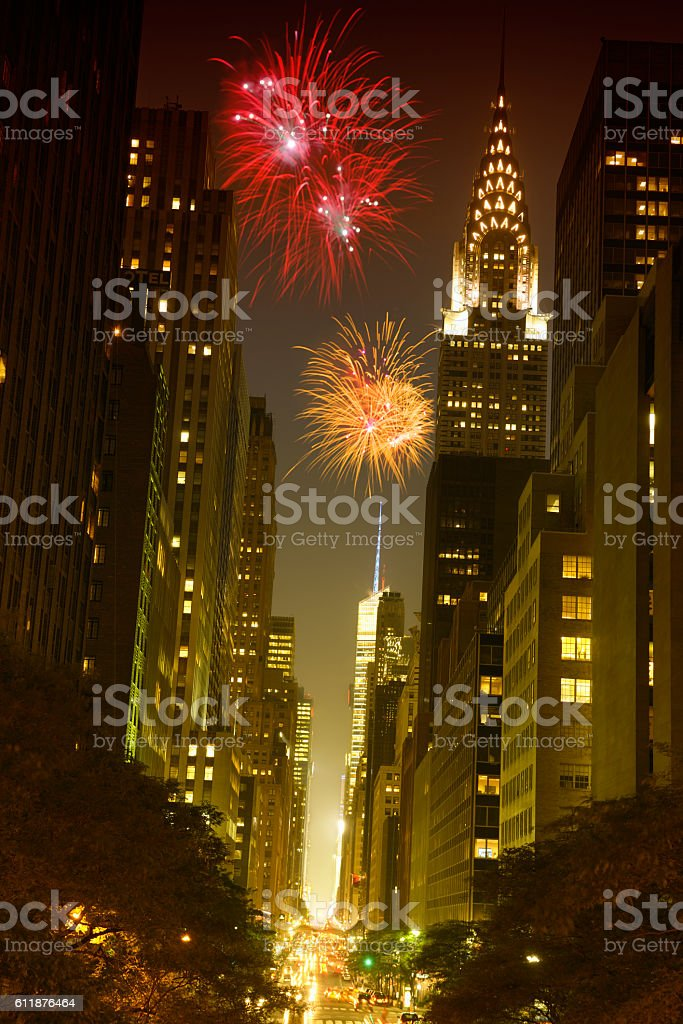 New year Fireworks over 42nd Street, NYC. stock photo