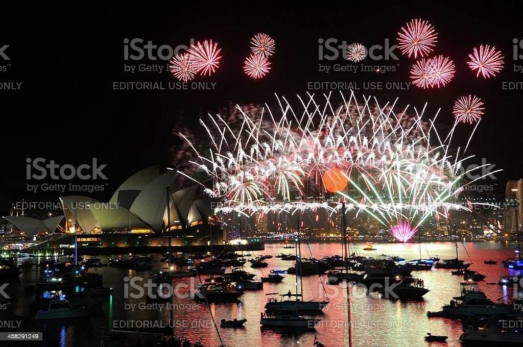 New Year Fireworks Over Sydney Harbour royalty-free stock photo