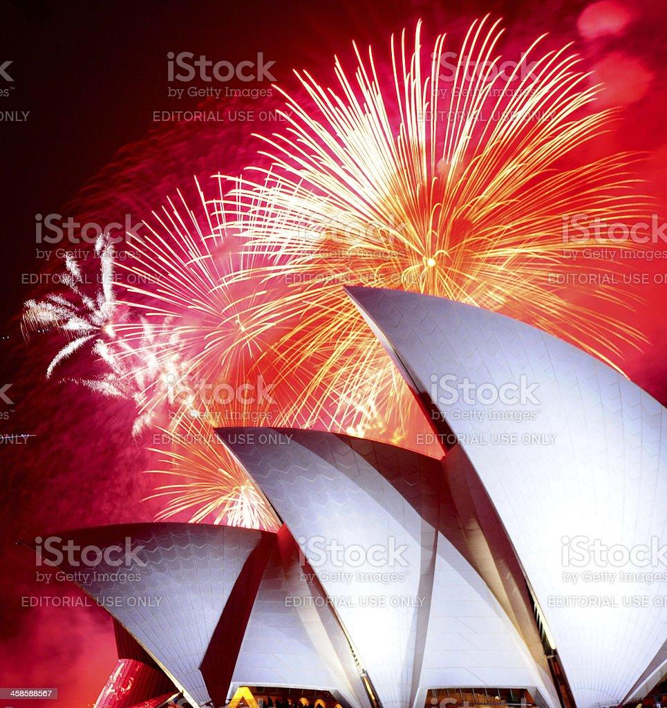 New Year Fireworks Over Sydney Opera House royalty-free stock photo