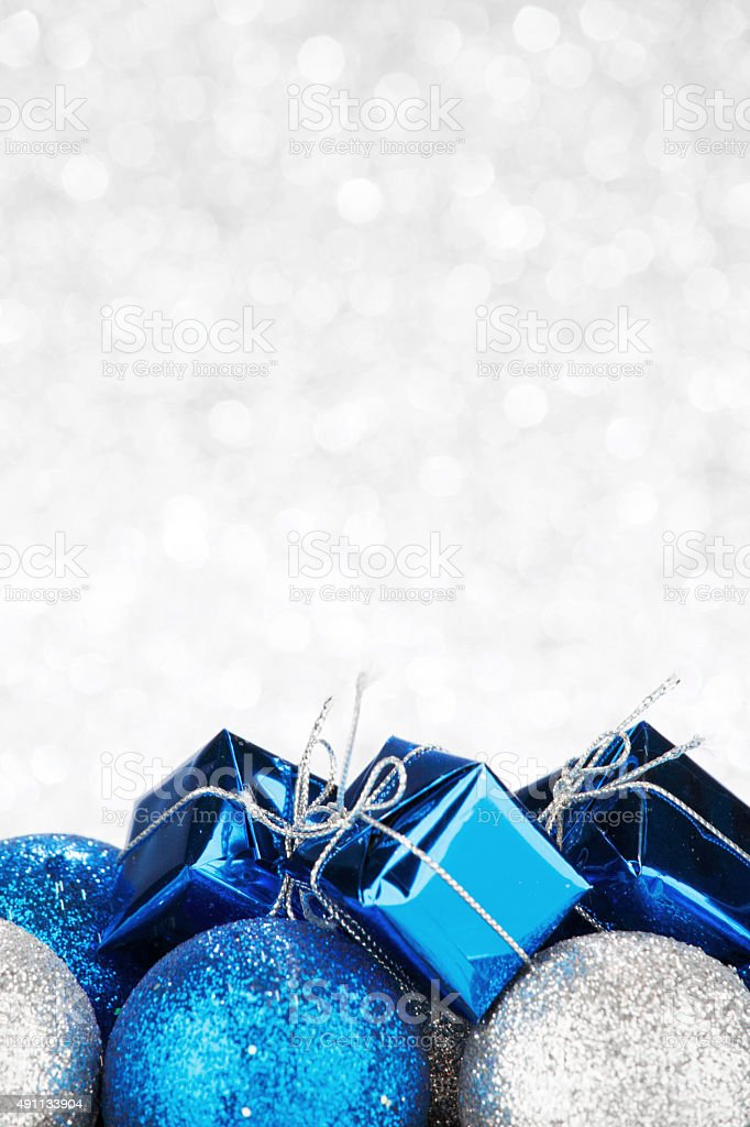 New Year gift and balls stock photo