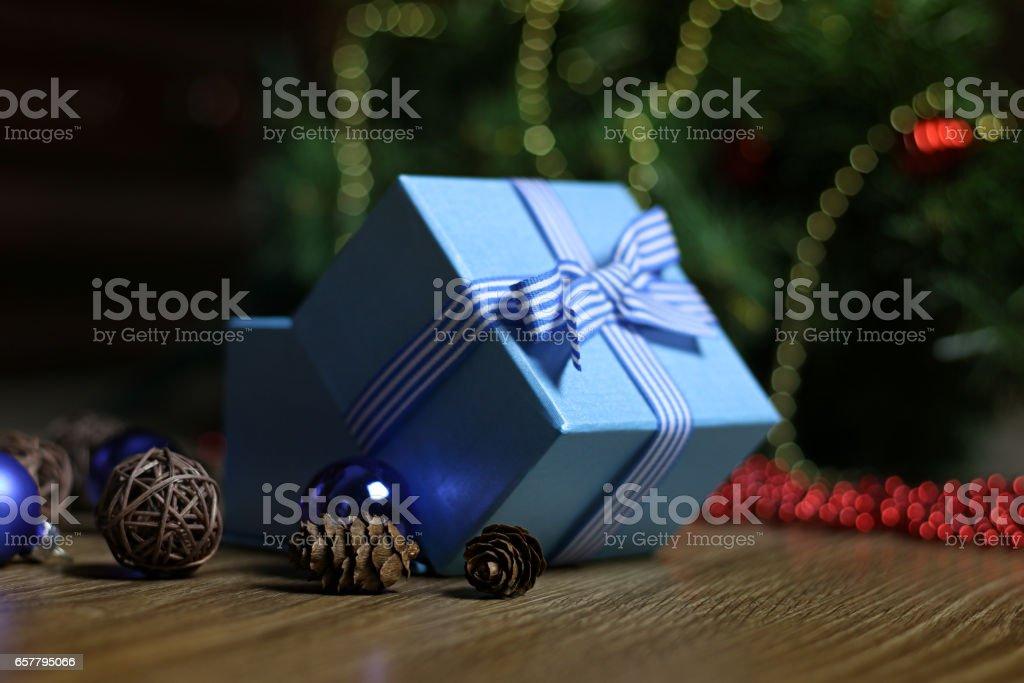 New Year gift box ornaments stock photo
