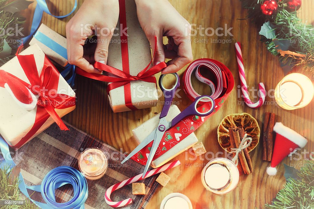 New Year gift packaging stock photo