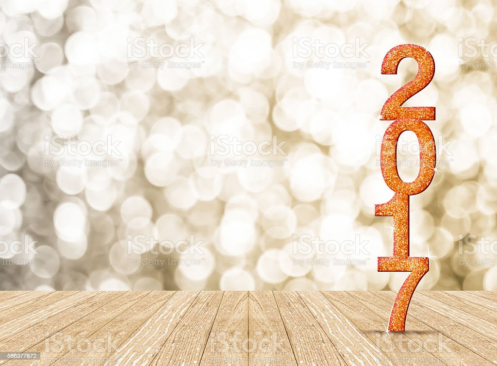 2017 new year glitter number in room with sparkling stock photo