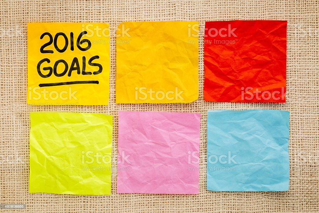 2016 New Year goals on sticky notes stock photo