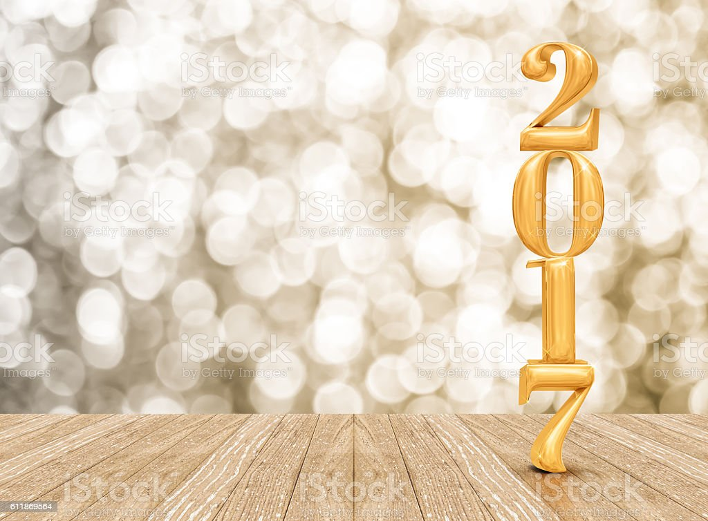 2017 (3d rendering) new year gold color in  room stock photo