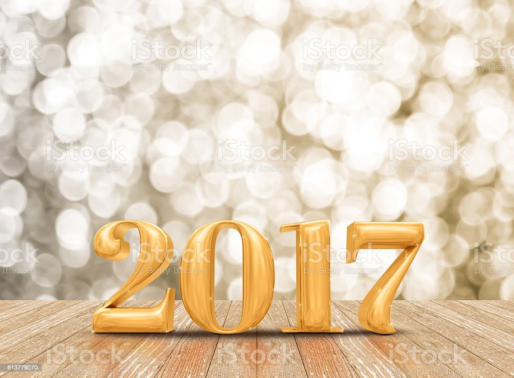 2017 new year gold number in gold room stock photo