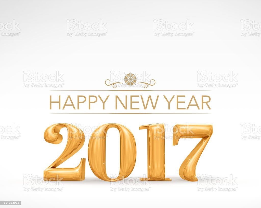 2017 new year golden number (3d rendering) on white studio stock photo