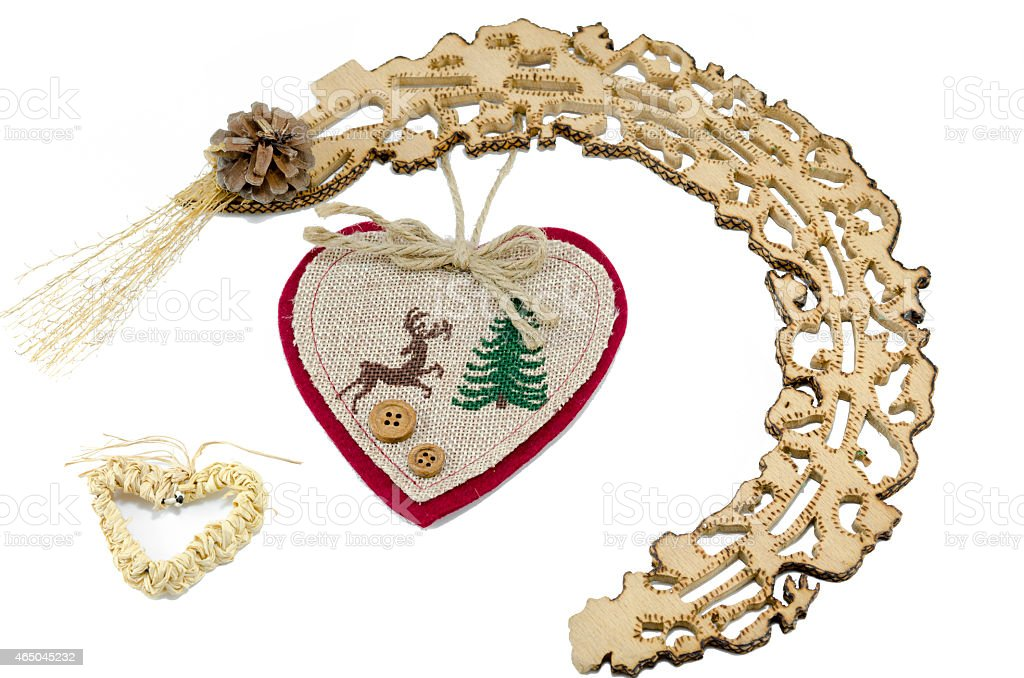 New Year heart and woodwork isolated royalty-free stock photo