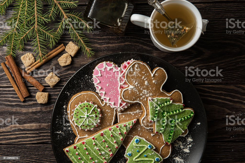 New year homemade gingerbread stock photo