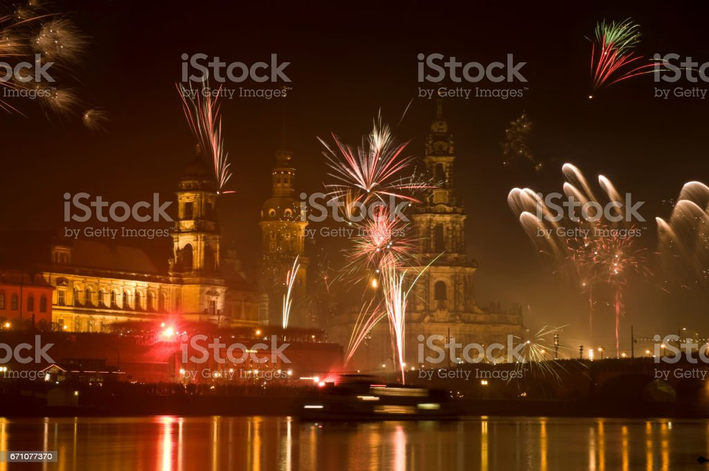 New Year in Dresden, Germany with fireworks stock photo