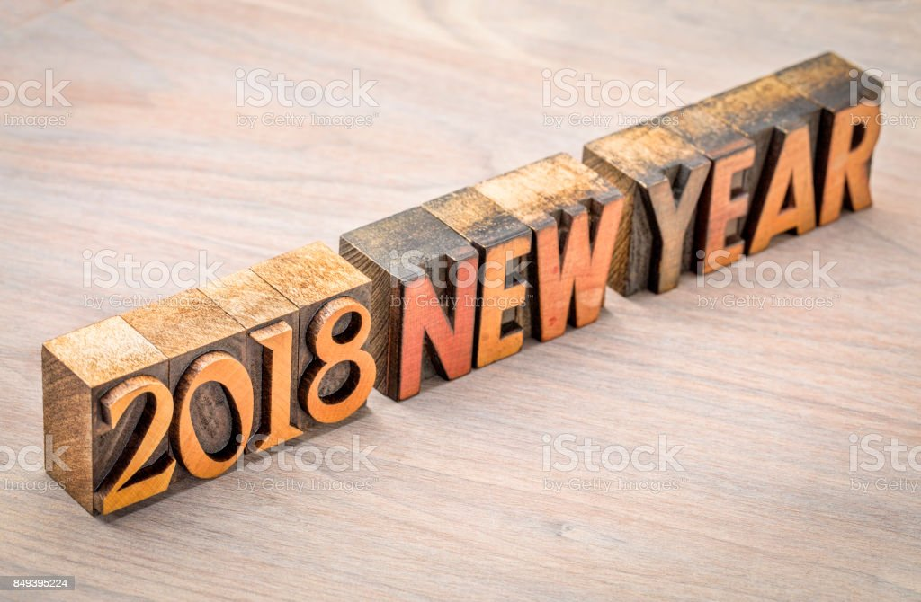 2018 New Year in vintage wood type stock photo