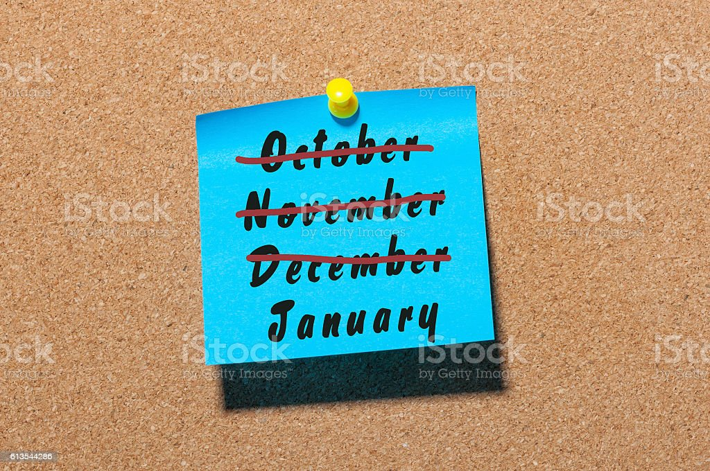 New Year is coming concept. January beginning and December, November stock photo