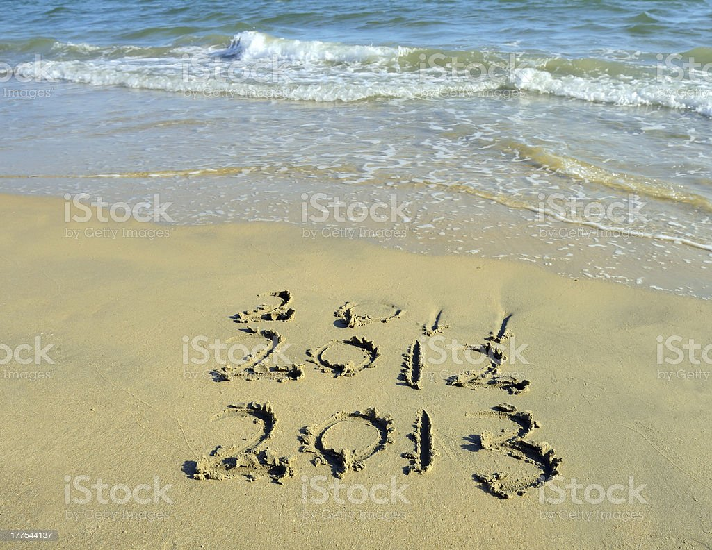 new year message 2013 on the sand beach royalty-free stock photo