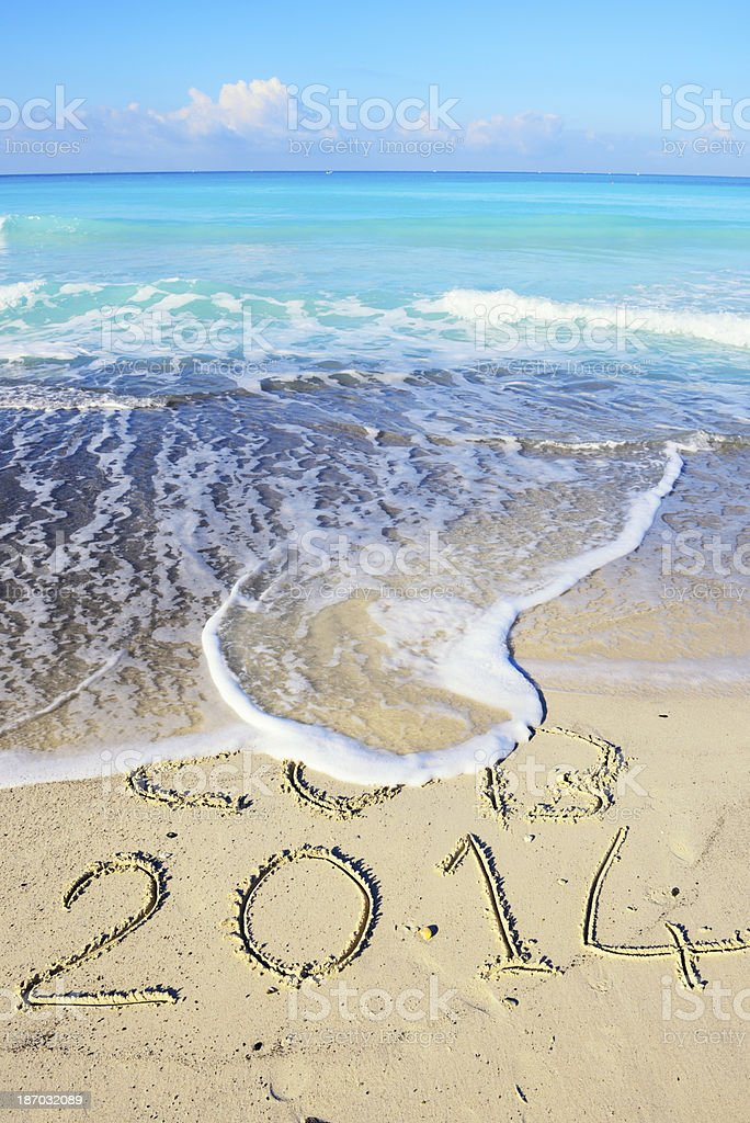 New Year Message on the Beach stock photo