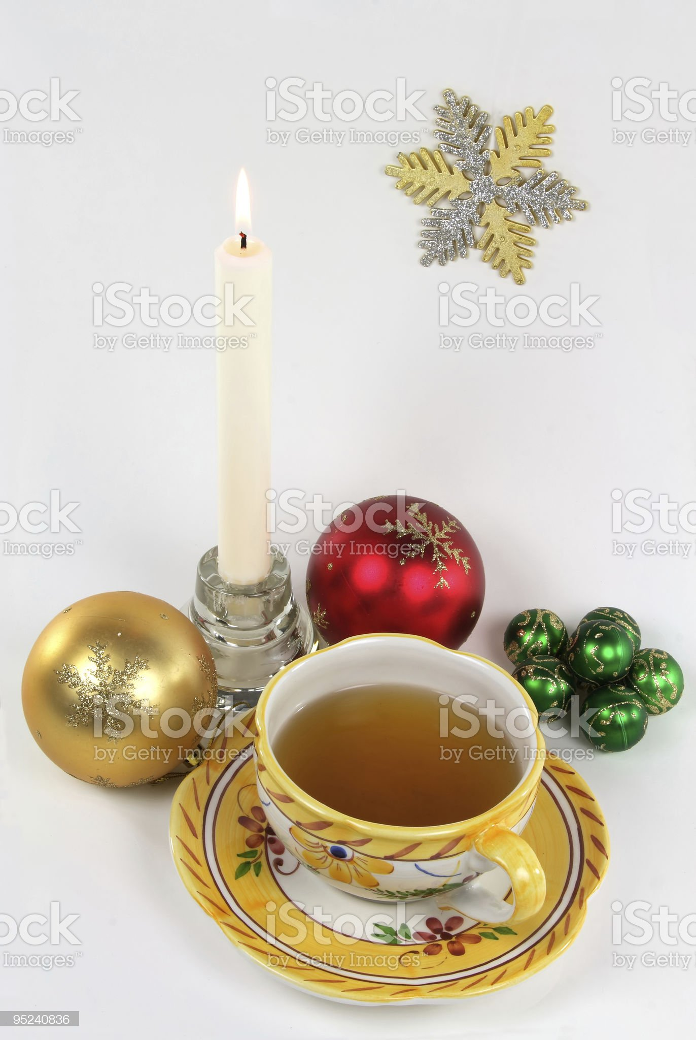New Year morning cup of tea. royalty-free stock photo