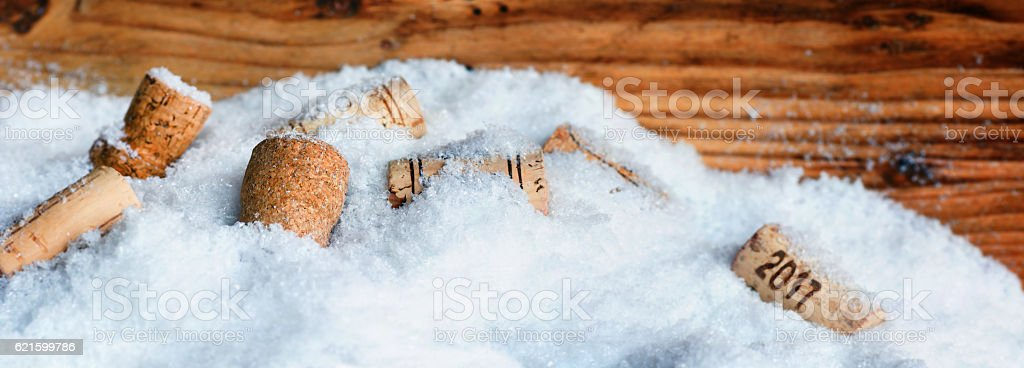 New Year motive 2017 with bottle corks stock photo