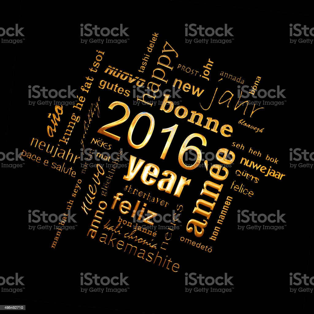 2016 new year multilingual golden text word cloud greeting card stock photo