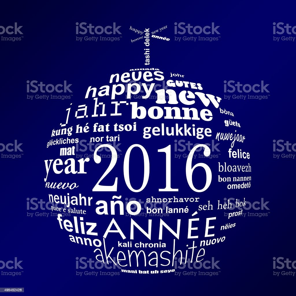 2016 new year multilingual text word cloud greeting card stock photo