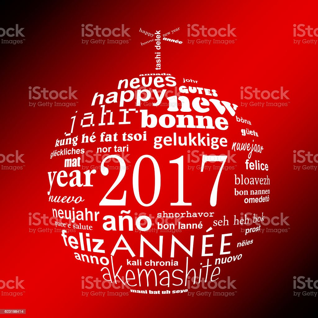 2017 new year multilingual text word cloud greeting card stock photo