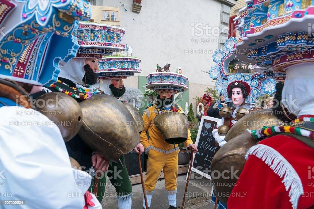 New Year Mummers (Silvesterchlausen) in Urnasch, Appenzell stock photo