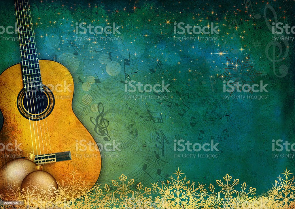 New Year music background with guitar stock photo