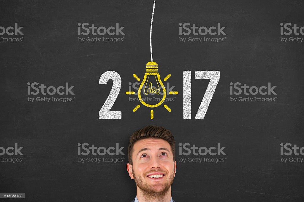 New Year, New Idea Concept 2017 on Chalkboard stock photo