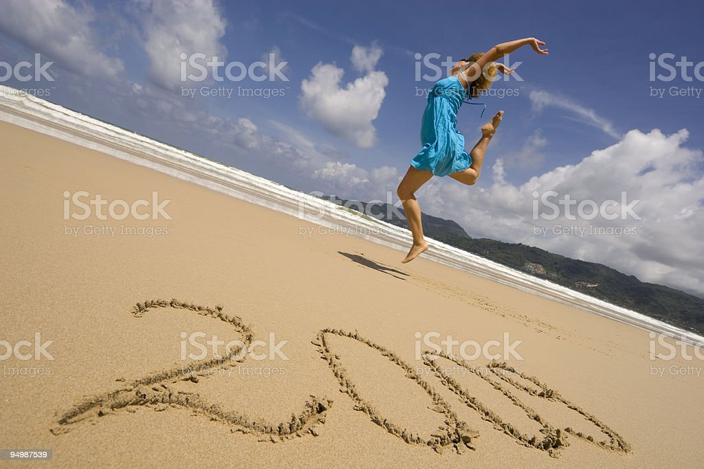 New year on a beach stock photo