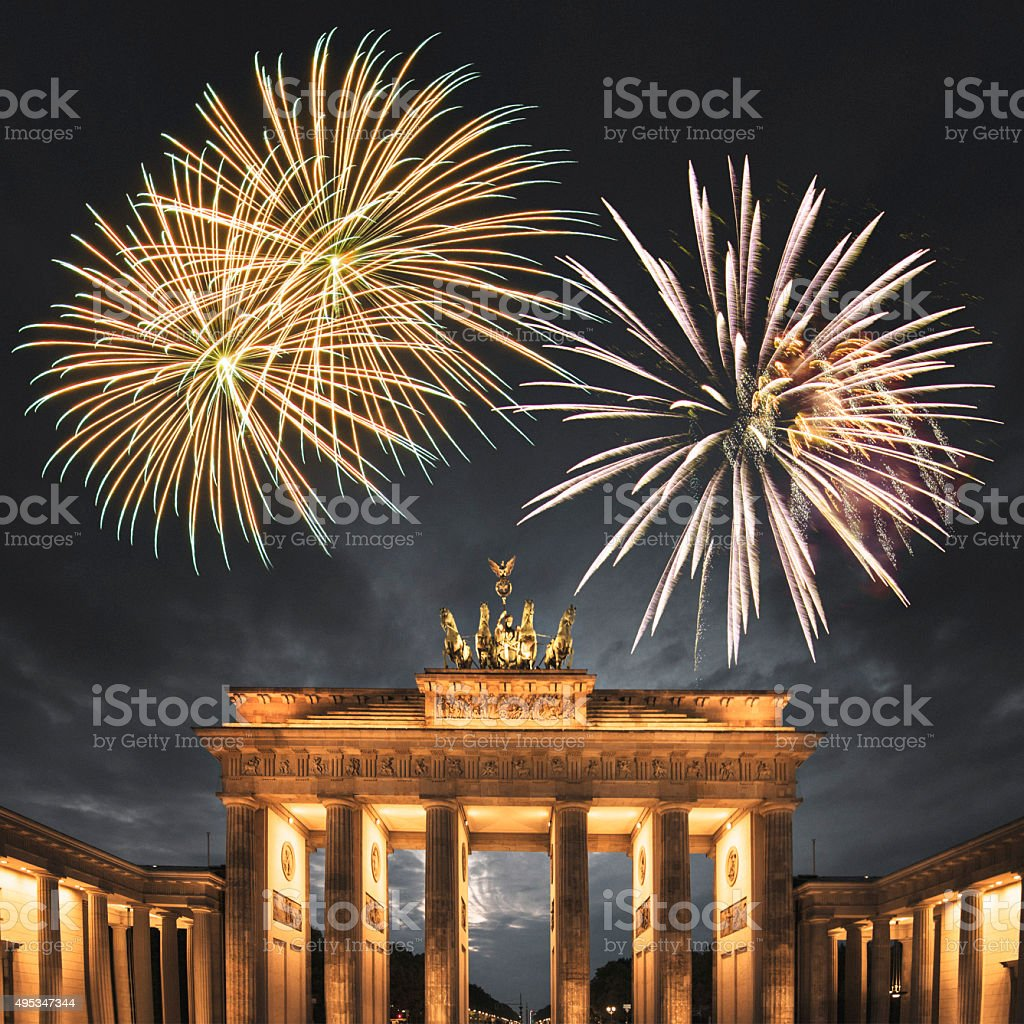 2016 new year on the Brandeburg Tor in Berlin stock photo