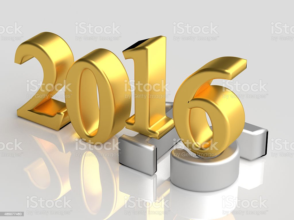 2016 New Year over old 2015 vector art illustration