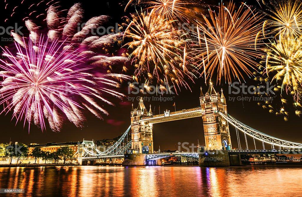 new year over the tower bridge stock photo