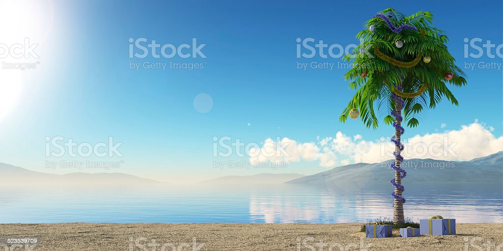 New Year palm tree with decoration concept holiday stock photo