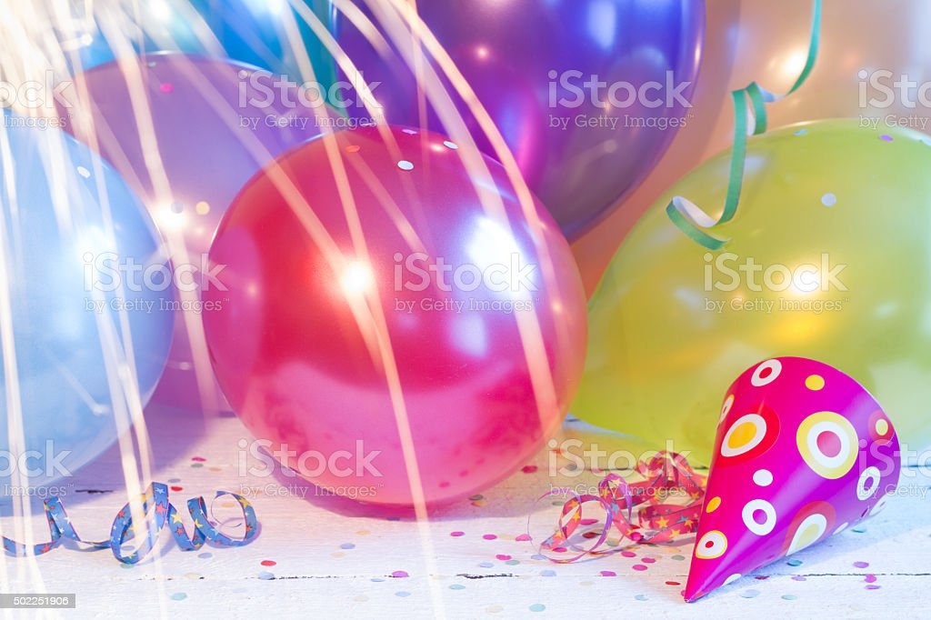 New year party balloons background texture stock photo