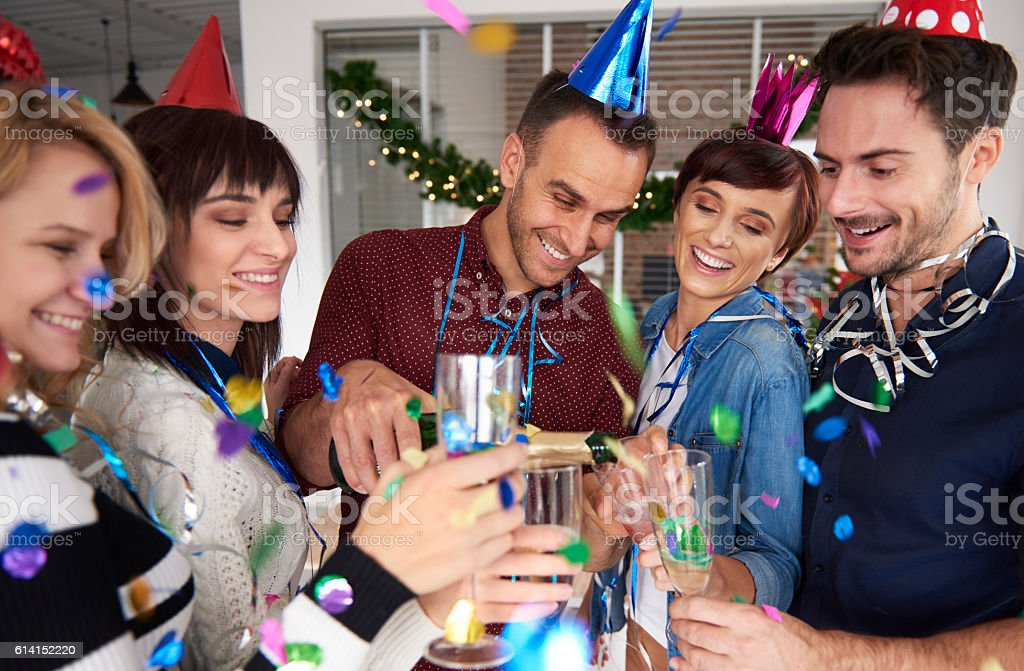 New Year party in the company stock photo