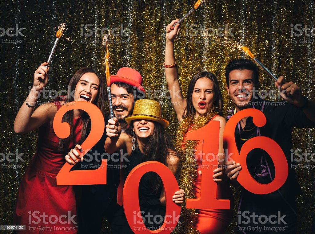 Friends celebrating the New Year 2016