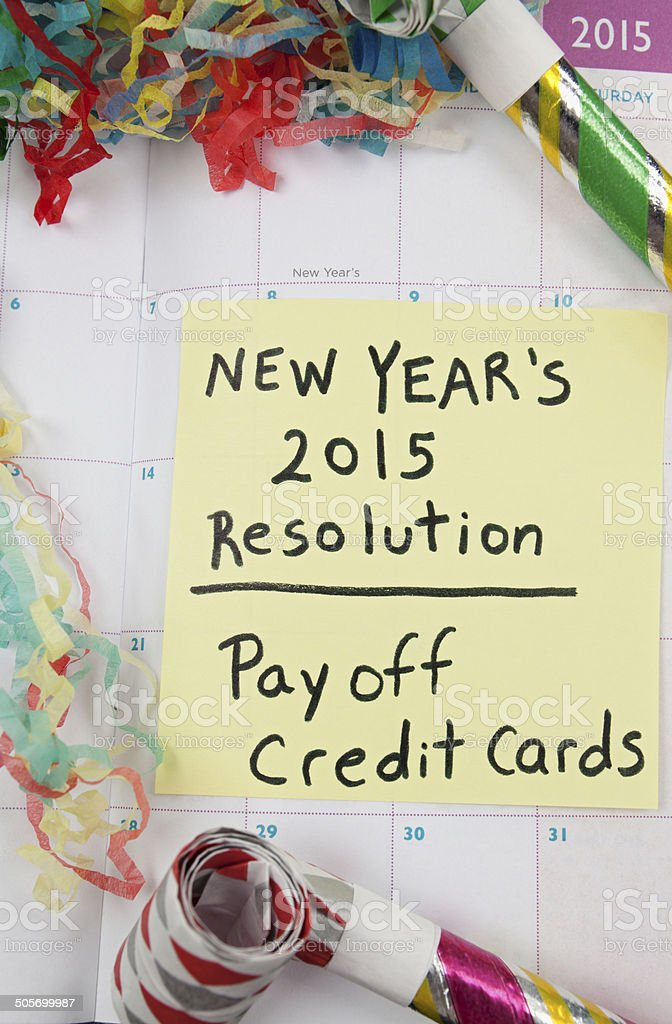 New Year Resolution: Pay Off Credit stock photo