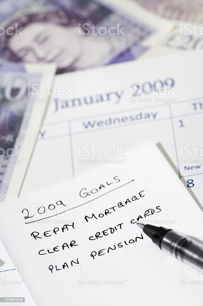 New year resolutions financial planning for 2009 royalty-free stock photo