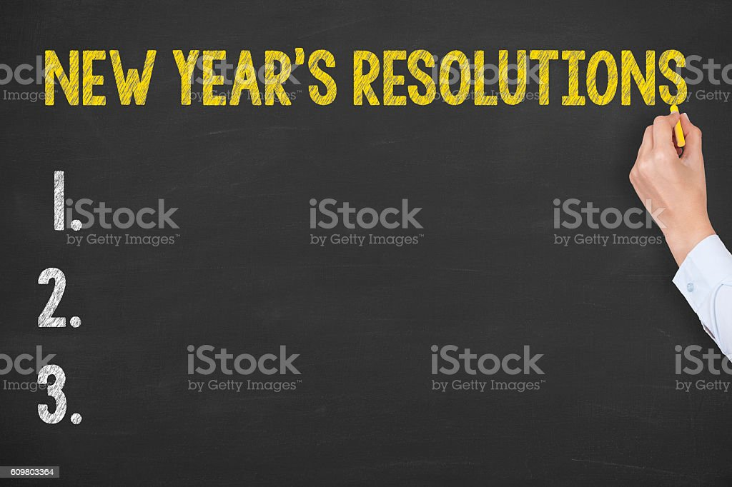 New Year Resolutions on Blackboard Background stock photo