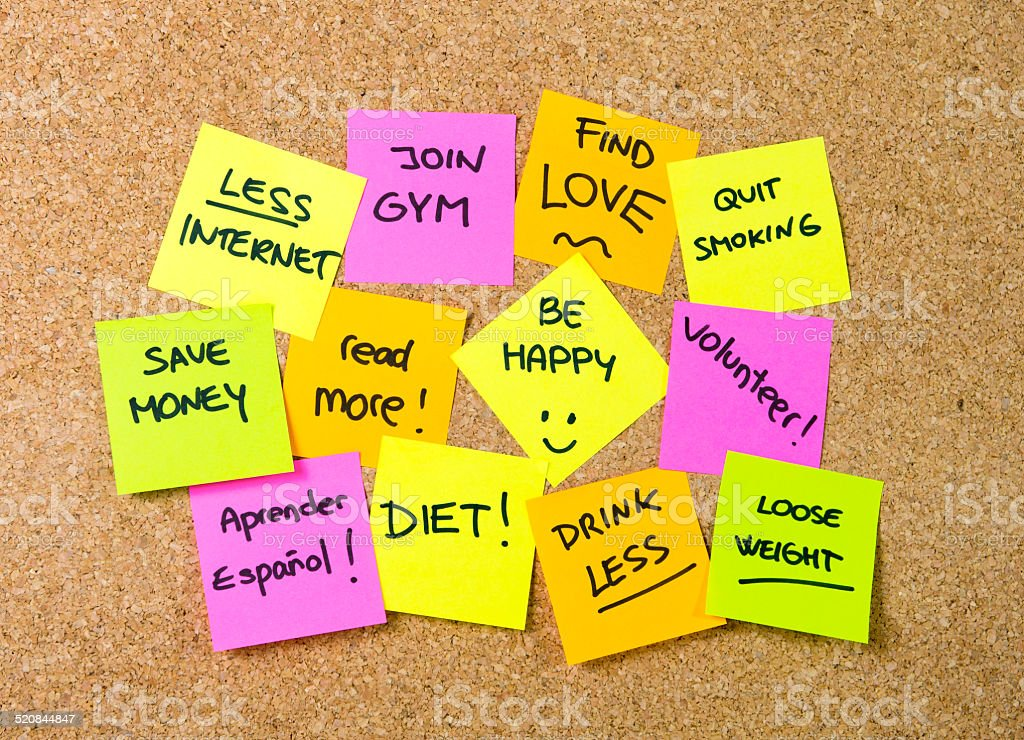 New year Resolutions Post it notes stock photo